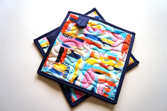 Quilted Colorful Fabric Pot Holders in Abstract Pattern, Choice of One or Set of Two with Hanging Tab Option