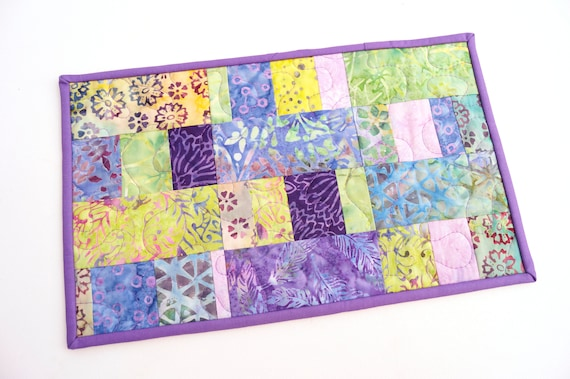 Quilted Patchwork Table Topper or Mug Rug in Colorful, Tropical Batik Fabrics