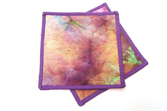 Quilted Hand Dyed Fabric Pot Holders, Set of Two, in Shades of Pink, Purple and Green