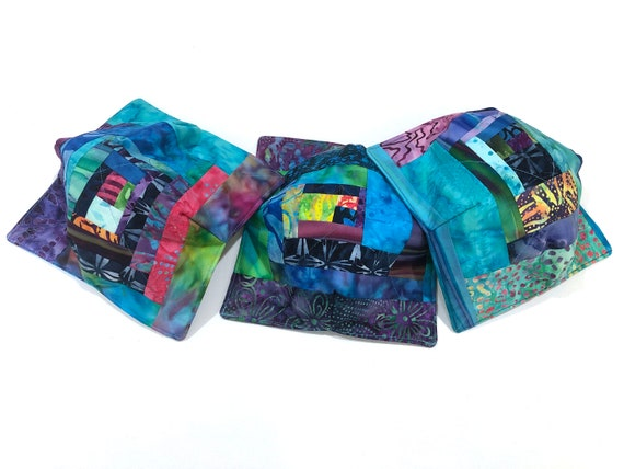 Microwave Bowl Cozy with Vibrant, Batik Fabric Patchwork, Soup or Ice Cream Bowl Holders
