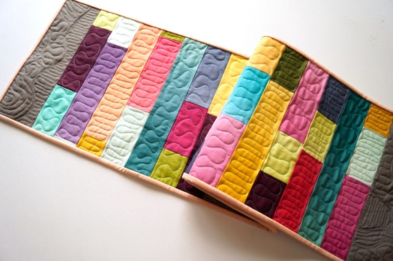 Modern Quilted Table Runner with Colorful Ombre Patchwork