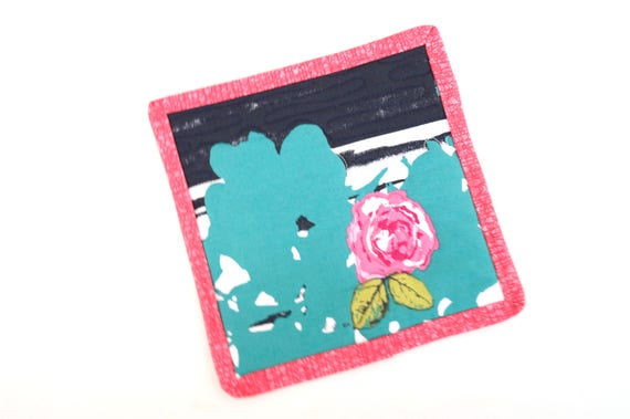 Quilted Pot Holder in Modern Floral Fabric, Eclectic Pink and Teal Flower Hot Pad