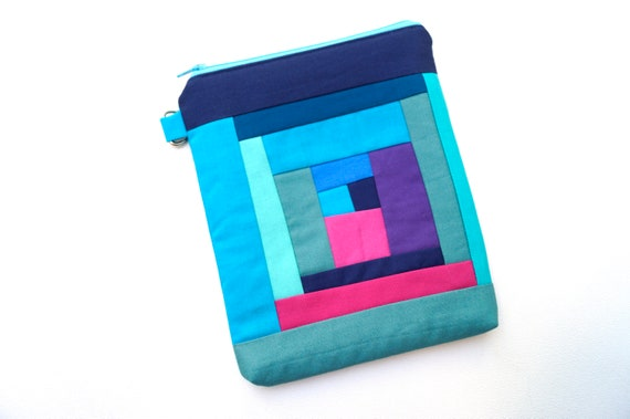Modern Patchwork Bag in Log Cabin Pattern, Vibrant Padded Zipper Pouch