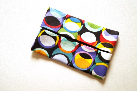 Travel Size Tissue Holder with Colorful Fabric in Circle Pattern