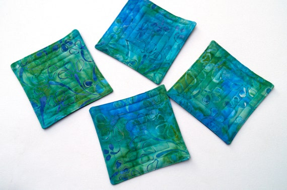 Quilted Fabric Coasters in Blue Green Floral Batik Pattern, Tropical Cloth Drink Ware, Set of Four