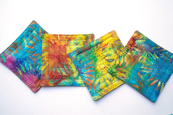 Quilted Coasters in Bright and Colorful Sunflowers, Tropical Batik Fabric Drink Ware, Set of Four