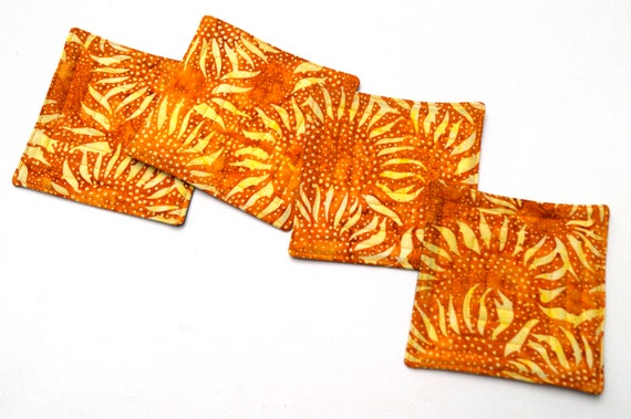 Quilted Fabric Coasters with Sunflower Pattern Batik, Absorbent Cloth Drink Ware, Set of Four