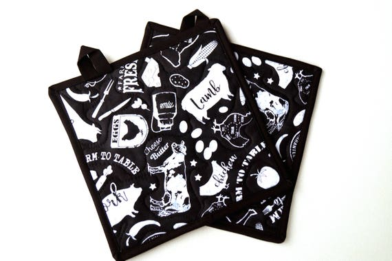 Quilted Pot Holders in Black and White Butcher's Chart, Cooking Themed Fabric Hot Pads, with or without hanging tabs