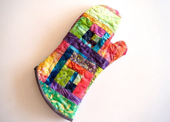 Quilted Batik Fabric Oven Mitt with Colorful, Tropical Patchwork