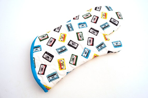 Quilted Cassette Tape Fabric Oven Mitt with Rock Theme, with Hanging Tab Option