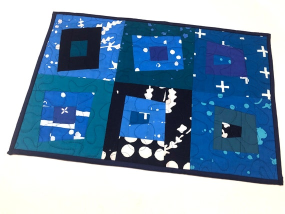 Quilted Batik Fabric Place Mat or Wall Hanging with Modern Patchwork in Shades of Blue
