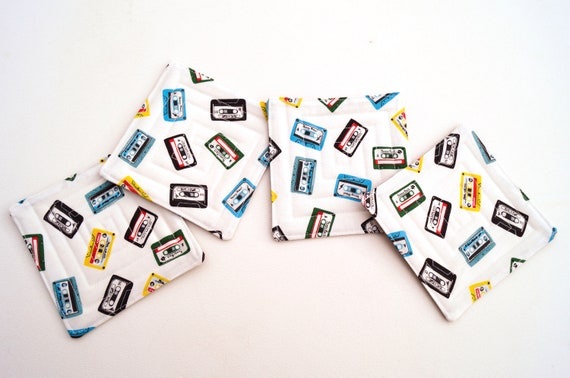 Quilted Fabric Coasters with Cassette Tape Rock Theme, Retro Cloth Drink Ware, Set of Four