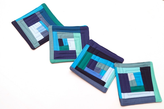 Quilted Fabric Coasters in Shades of Blue, Abstract Patchwork Cloth Drink Ware, Set of Four