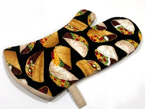 Quilted Taco Fabric Oven Mitt with Hanging Tab Option