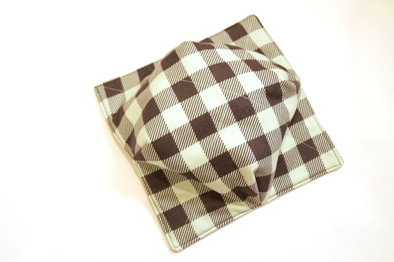 Buffalo Plaid Fabric Microwave Bowl Cozy in Mint Green, Soup or Ice Cream Bowl Holders