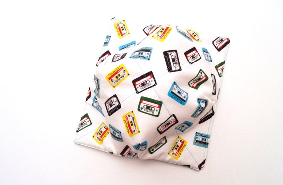 Cassette Tape Microwave Bowl Cozy with Rock and Roll Theme Fabric, Soup Bowl Grabber, Ice Cream Bowl Holder