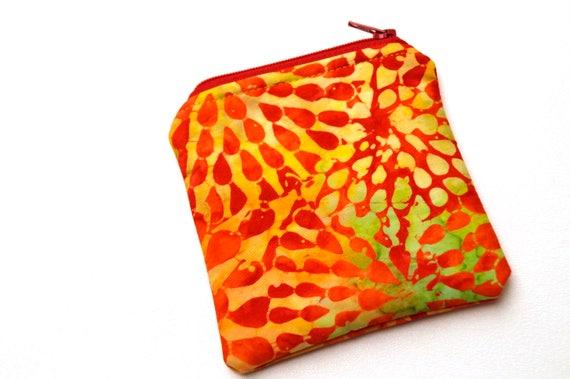 Mini Zipper Pouch in Orange Batik Fabric, Tropical Coin Purse