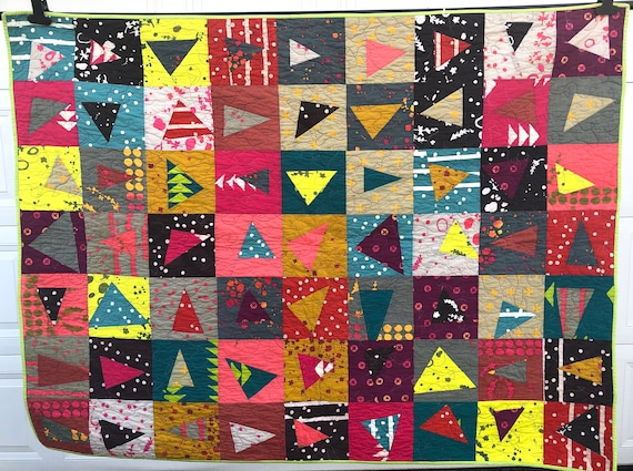 Lap Quilt or Throw Blanket in Modern Batik Colorful Patchwork !Storm Sale Price Reduced!