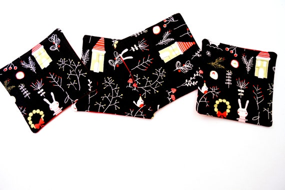 Christmas Quilted Fabric Coasters with Cute Animals, Set of Four