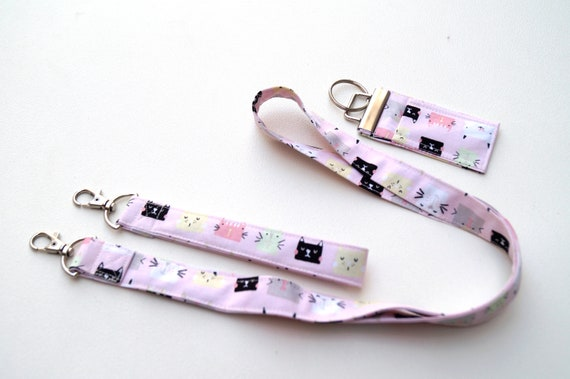 Cat Fabric Accessory Set with Lanyard, Wristlet Key Chain & Chap Stick Holder, Choice of Set or Individual Item