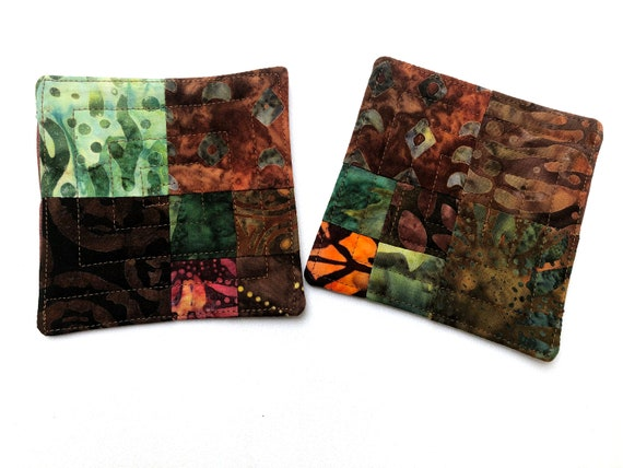 Quilted Fabric Coasters in Rich Earth Tone Batiks, Patchwork Cloth Drink Ware, Set of Two