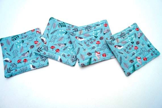 Quilted Fabric Coasters with Winter Bird Theme, Cute Holiday Cloth Drink Ware, Set of Four