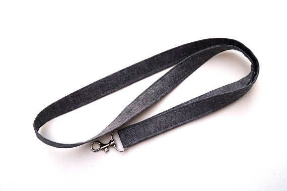 Linen Fabric Lanyard or ID Badge Holder in Charcoal Grey, Work Accessory