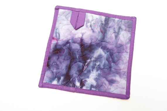 Quilted Hand Dyed Fabric Pot Holder in Blue and Purple
