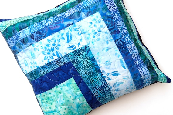 Patchwork Throw Pillow Cover for 14 inch Pillow with Blue Batik Quilted Fabric COVER ONLY