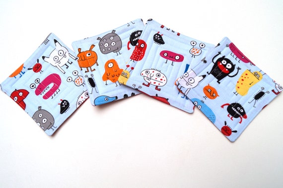 Quilted Monster Fabric Coasters, Novelty Cloth Drink Ware, Set of Four