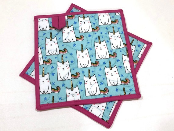 Blue Caticorn Quilted Fabric Pot Holders,  Cat and Unicorn Hot Pads, Choice of One or Set of Two