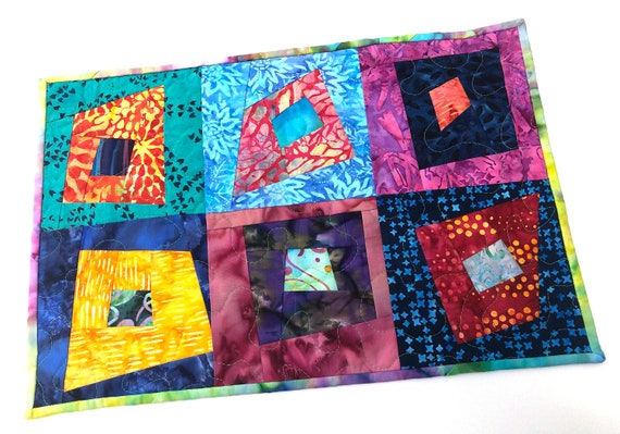 Quilted Table Topper or Patchwork Place Mat in Bright and Colorful Batik Fabrics