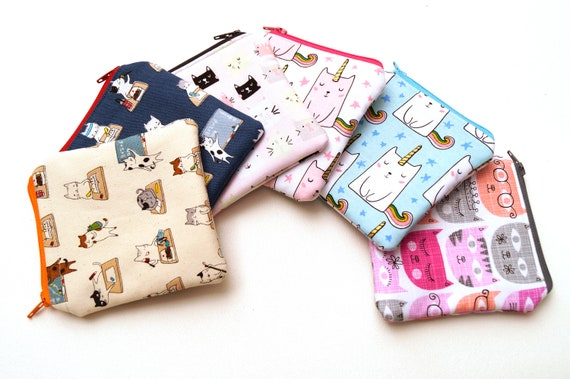 Mini Zipper Pouch with Your Choice of Cat Fabric, Padded Cloth Coin Purse