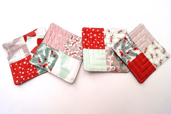 Quilted Fabric Coasters with Christmas Patchwork, Set of Four