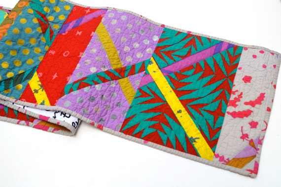 Quilted Patchwork Table Runner in Modern and Colorful Batik Fabrics !Price Reduced Storm Sale!