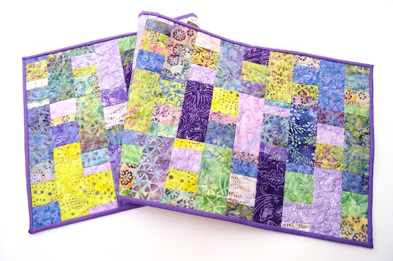 Quilted Batik Fabric Patchwork Table Runner in Shades of Purple, Blue and Green