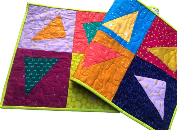 Quilted ModernBatik Fabric Patchwork Table Runner or Wall Hanging with Colorful Prints