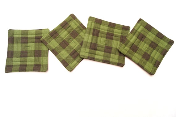 Quilted Cotton Fabric Coasters with Green and Black Plaid Pattern, Set of Four