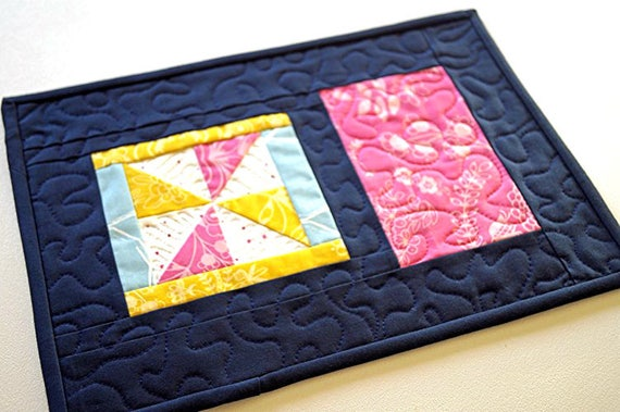 Colorful Floral Mini Quilt, Spring Quilted Patchwork Place Mat in Pink, Blue and Yellow
