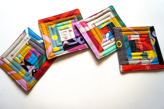 Quilted Batik Fabric Coasters with Colorful Patchwork, Hand Dyed Cloth Drink Ware, Set of Four