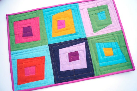 Quilted Patchwork Place Mat, Table Topper or Wall Hanging with Colorful Wonky Log Cabin Pattern