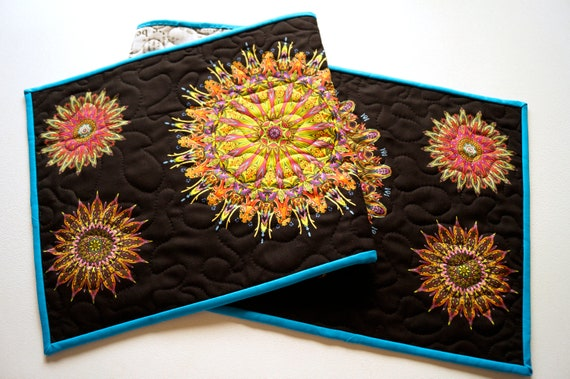 Quilted Fabric Table Runner with Colorful Kaleidoscope Medallion Pattern