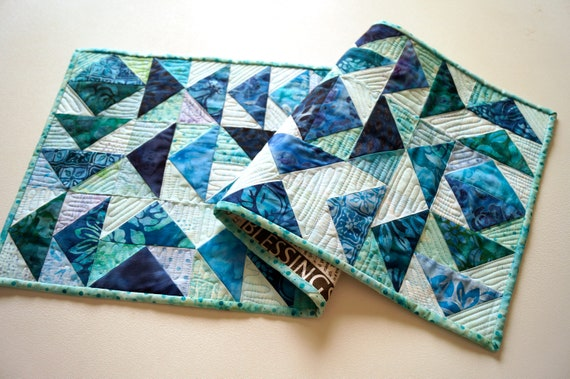 Quilted Table Runner with Vibrant Batik Fabric, Shades of Blue Patchwork Wall Hanging
