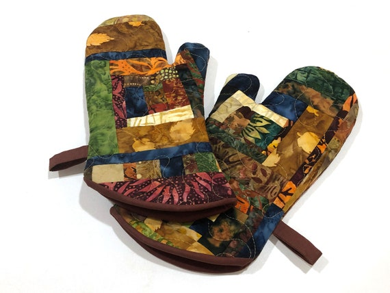 Batik Quilted Fabric Oven Mitts with Earth Tone Patchwork