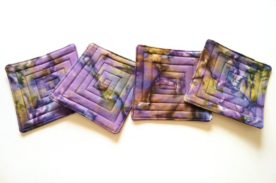 Quilted Coasters in Hand Dyed Purple Batik Fabric, Set of Four