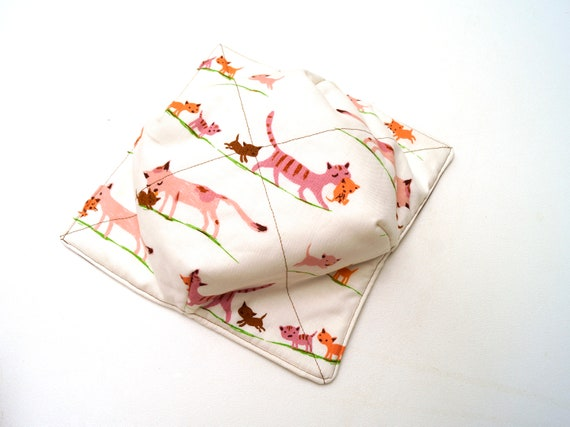 Cat Fabric Microwave Bowl Cozy, Soup or Ice Cream Bowl Holders