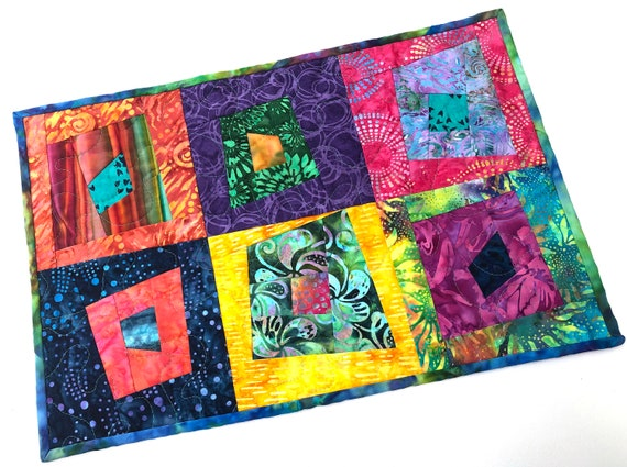 Quilted Batik Fabric Place Mat or Wall Hanging with Vibrant and Tropical Patchwork