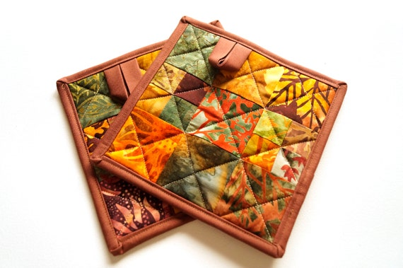 Quilted Pot Holders in Rich Fall Color Patchwork, Batik Fabric Hot Pads Set of Two