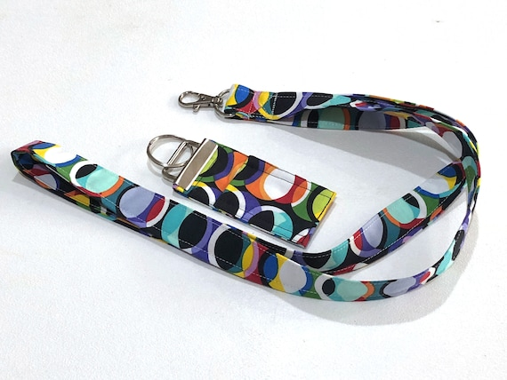 Colorful Theme Fabric Lanyard or Chap Stick Holder Key Chain with Abstract Circle Print