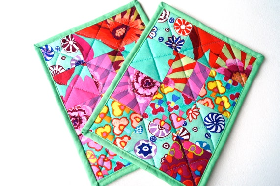 Colorful Fabric Pot Holders with Quilted Patchwork, Modern Cloth Hot Pads in Shades of Aqua Blue, Pink, Yellow and Red, Set of Two